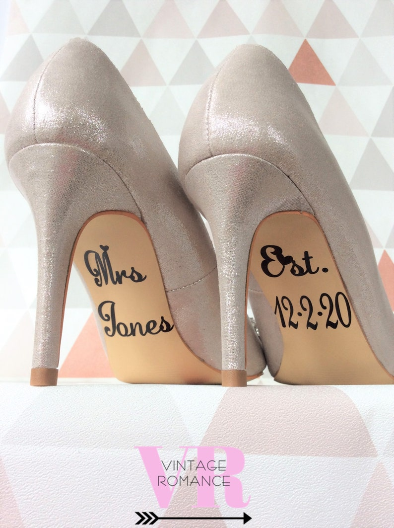 a3f6578fa56b Personalised Wedding Day Bride Shoes Decals Stickers Mrs
