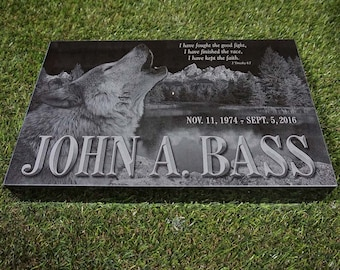 Laser Engraved Marker, Granite Memorial Marker, Custom Memorial, Flat Grass Marker, Granite Headstone
