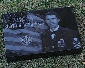 Laser Engraved Memorial, Granite Memorial, Custom Memorial, Engraved Headstone, Flat Grass Marker, Military Headstone