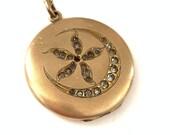 Antique Crescent Moon Flower Locket Necklace Antique gold filled locket Gift for her