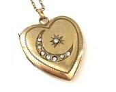Vintage Gold Filled Heart Locket with Crescent Moon Star Crescent Moon Star Antique Locket Victorian Gold Filled Locket