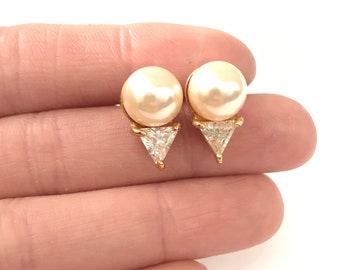 Beautiful Elegant Vintage Cubic Zirconia Crystal CZ Faux Pearl Stud Earrings