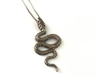 Vintage Sterling Silver Snake Serpent Necklace