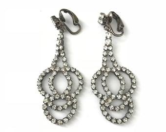 76ee1c647 Vintage Deco Inspired Chandelier Rhinestone Crystal Clip Earrings