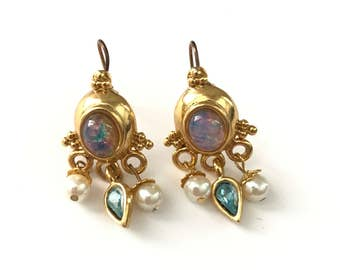 Vintage Gold Plated Opal Cabochon Dangle Earrings