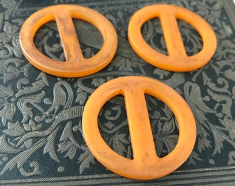 Vintage Butterscotch Orange Bakelite Buckles