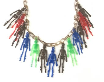 Vintage Celluloid Plastic Skeleton Necklace // Celluloid Novelty Necklace