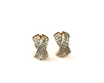 Vintage Pave Rhinestone X Kisses Stud Earrings