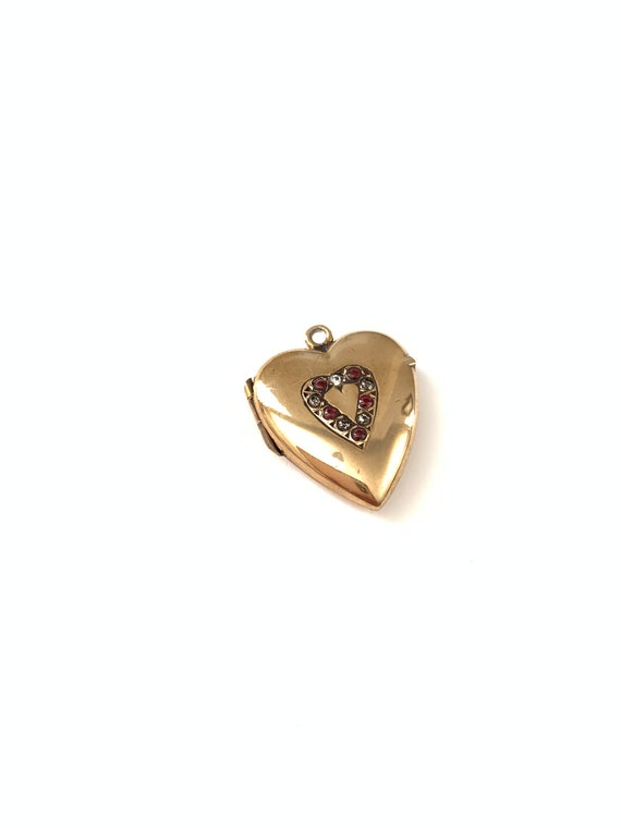 Vintage Antique Gold Filled Paste Heart Locket, Lo