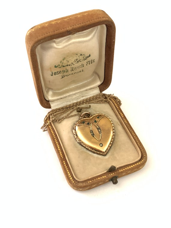 Amazing Antique Victorian Gold Filled Paste Heart