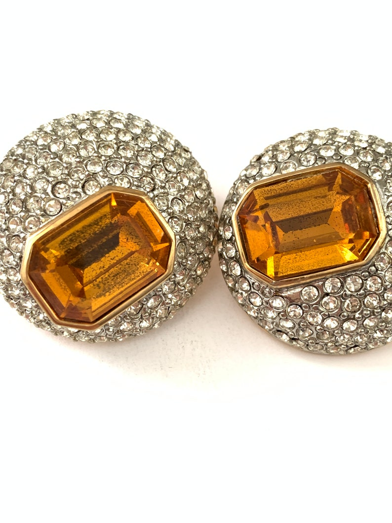 Huge Vintage VALENTINO Clear Pave and Citrine Orange Glass Emerald Cut Rhinestone Dome Clip Earrings