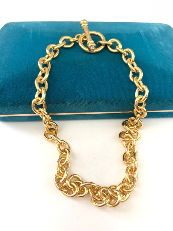 Vintage Gold Oval Link Chain Necklace, Thick Gold