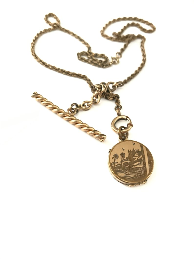 Vintage Victorian W/&H Co Locket Fob and Toggle Bar Charm Necklace