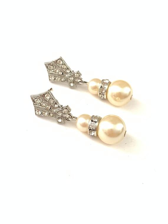 Vintage Deco Rhinestone Dangle Bridal Earrings, Si