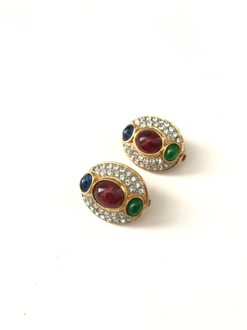 aa87559230c328 Stunning vintage Etruscan Revival Pave Rhinestone Jewel Tone   Etsy