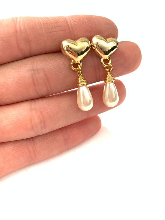 Vintage Dainty Gold Plated Heart and Faux Pearl Ea
