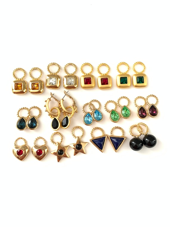Vintage 18k Gold Plated Interchangeable Charm Earr