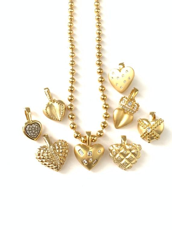 Vintage Interchangeable Heart Necklace // Gold Pla