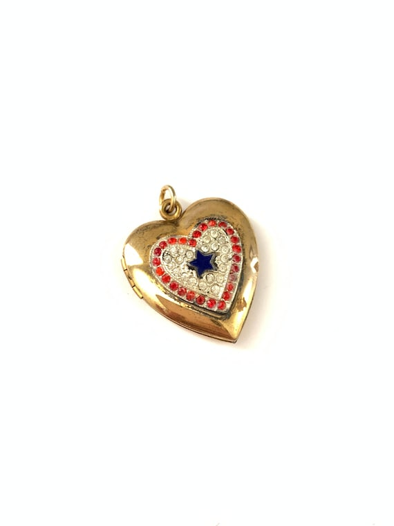 Vintage 1940s Gold Filled Rhinestone Heart Locket
