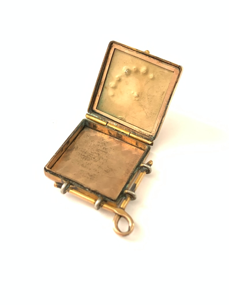 Keepsake Jewelry Antique Victorian Crescent Moon and Star Locket Fob Vintage Crescent Moon Star Locket