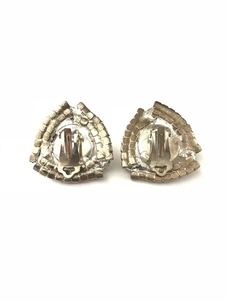 Gorgeous Vintage Deco Inspired Geometric Pave Rhinestone and Pearl Clip Earring