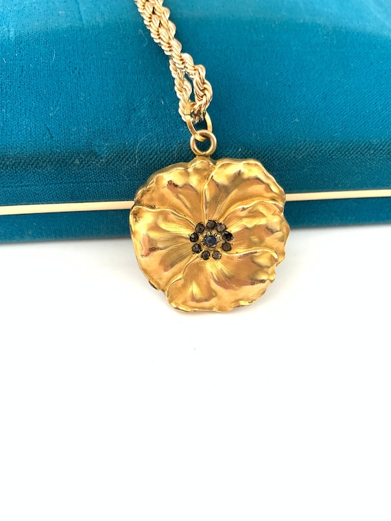 Beautiful Large Vintage Gold Filled Pansy Flower L