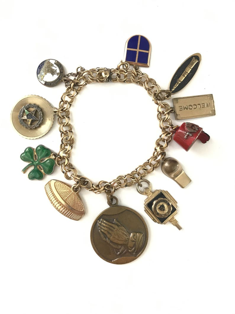 5fe7b09437ca1 Beautiful Vintage Gold Filled Charm Bracelet // Elco Charm Bracelet // Gold  Filled Charms Fobs