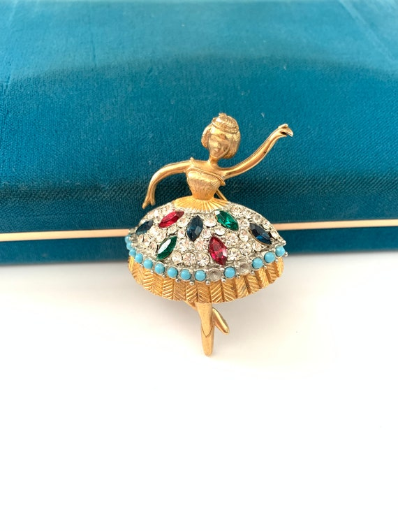 Vintage JJ Ballerina Dancer Brooch Pin, Rhinestone