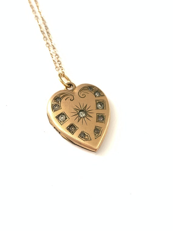 Vintage Antique Victorian Paste Heart Locket // Vi