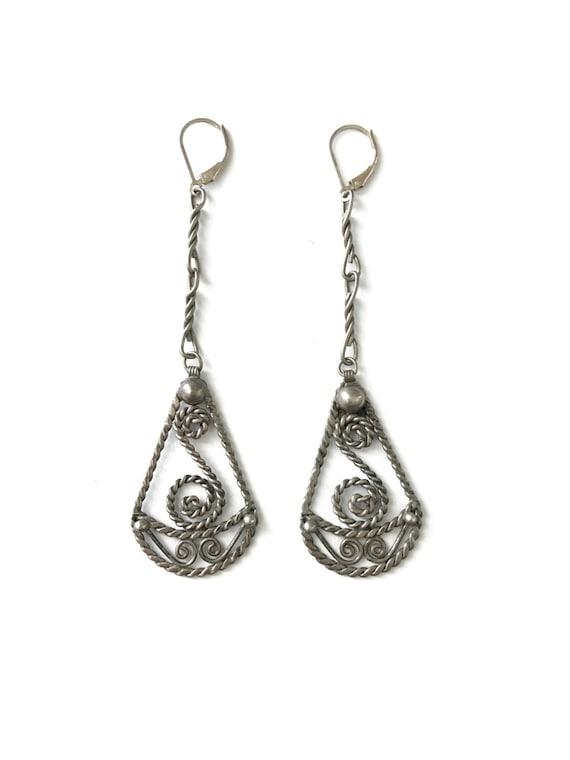 a8224efbd Vintage Sterling Silver 925 Long Dangle Earrings Twisted | Etsy