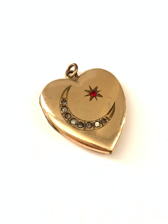 Antique Gold Filled Crescent Moon Star Heart Locke
