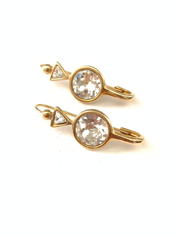 Vintage Safety Pin Style Clear Rhinestone Earrings