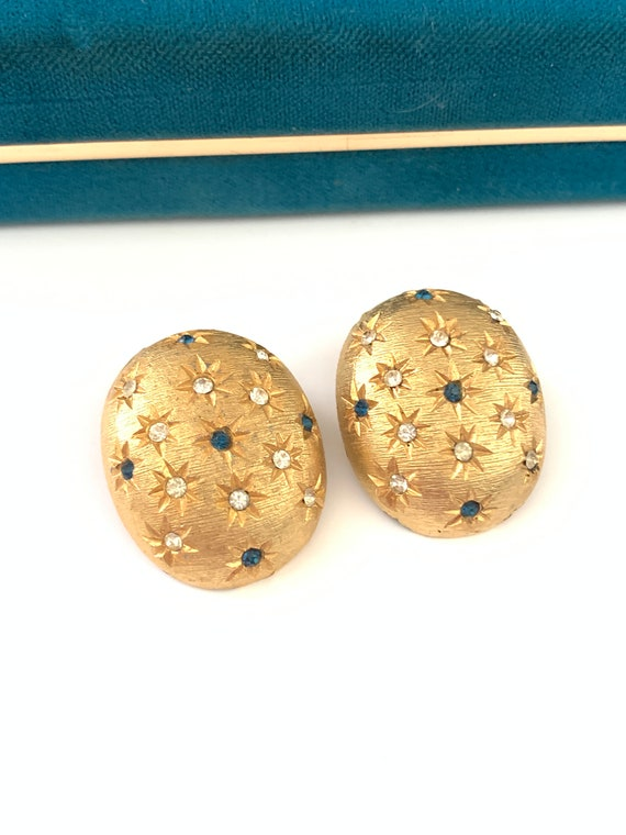 Vintage Gold Plated Star Clip Earrings, Domed Star