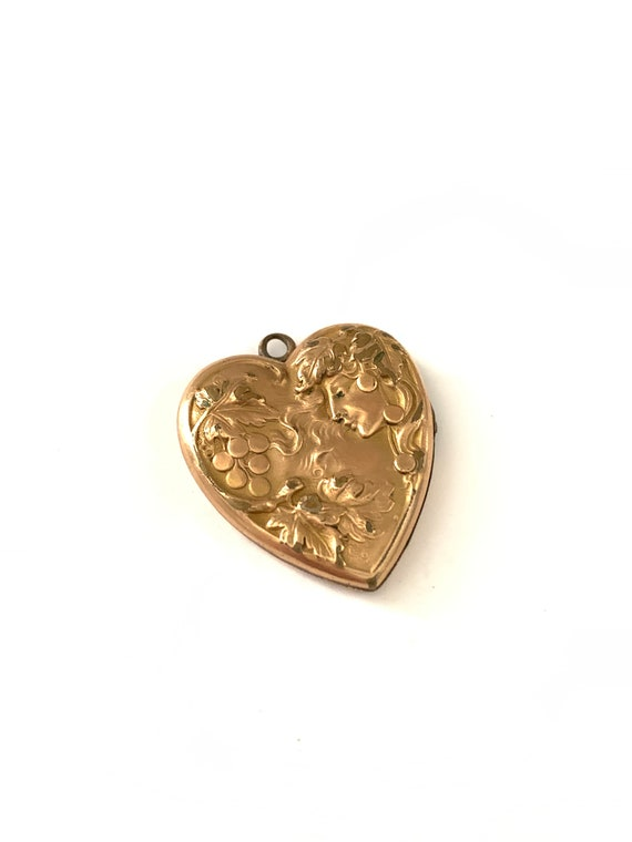 Vintage Art Nouveau Gold Filled Goddess Locket Pen
