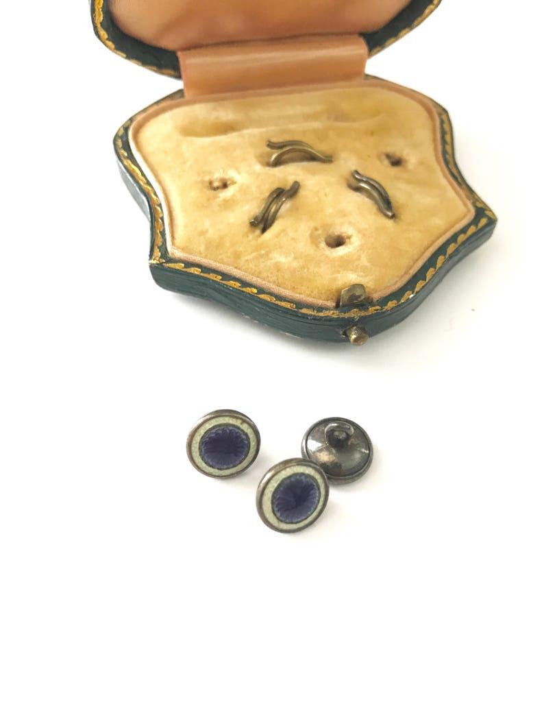 Antique Blue Enamel Buttons in Original Box
