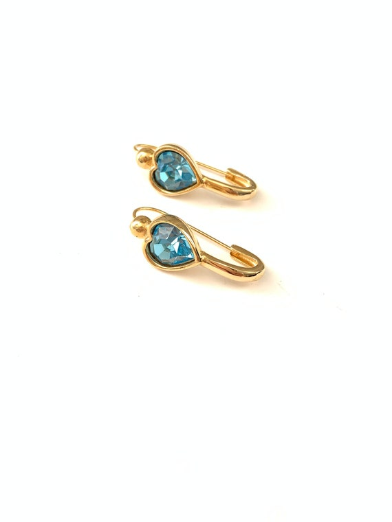 Vintage Safety Pin Style Blue Crystal Heart Earrin