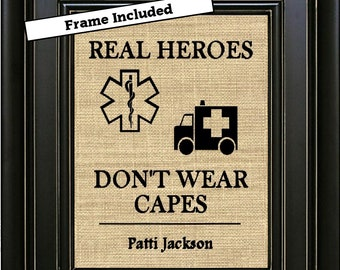 FRAMED Personalized Paramedic Gift Real Heroes Don't Wear Capes Star of Life EMS Gift EMT Decor Emt Gift Paramedic Sign Ems picture