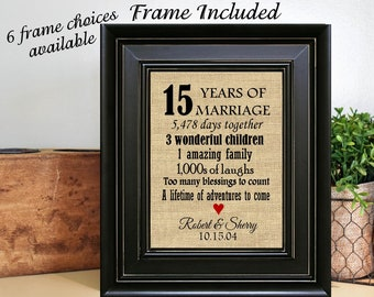 FRAMED Personalized 15th Wedding Anniversary Gift/15th Anniversary Gifts/15th Anniversary Gift/15 years of Marriage/Crystal Anniversary Gift & 15th anniversary   Etsy