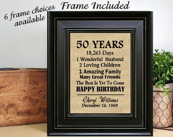 FRAMED Personalized 50th Birthday Gift For Mom Men Sister Dad Friend