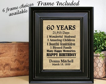 FRAMED Personalized 60th Birthday Gift For Grandma Mom Women Friend 60 Years