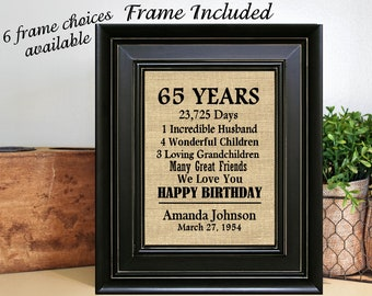 FRAMED Personalized 65th Birthday Gift For Grandma Mom Women Friend 65 Years