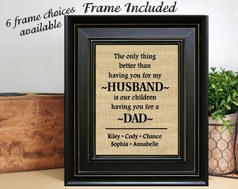 FRAMED Personalized Gift For Husband With Childrens Names Fathers Day Dad From Wife Birthday Idea