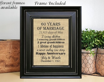 FRAMED 60th Wedding Anniversary Gift for Parents/60th Anniversary Gift for couple/60th Wedding Anniversary/Anniversary Gift for Grandparents