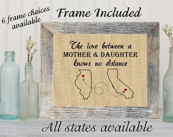 FRAMED Love Between A Mother Daughter Knows No Distance Mom Gift Map Art Print Long Birthday Mothers Day