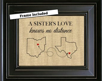FRAMED A SISTERS Love Personalized Gift For Sister Long Distance Map Print From Brother Birthday Gifts Mothers Day