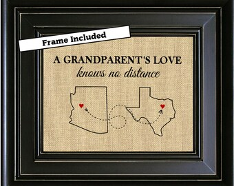 FRAMED Personalized A Grandparents Love Knows No Distance Day Gift Long Relationship Grandparent From Grandkids