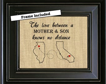 FRAMED Love Between A Mother And Son Knows No Distance Unique Mom Gift Map Art Print Long Mothers Day Birthday