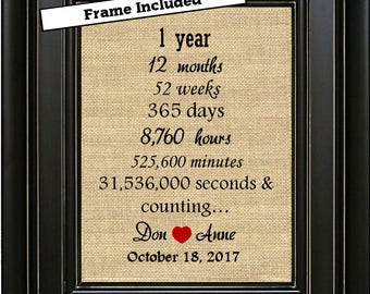 FRAMED First Wedding Anniversary /1st Anniversary Gift/1 year Anniversary Gift/1st Anniversary/Family Name/Burlap Print/Subway Art Print
