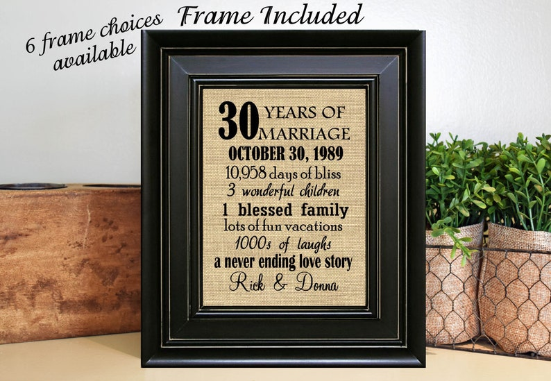 51bcf421d736e FRAMED 30th Wedding Anniversary Gift 30th Anniversary Gifts