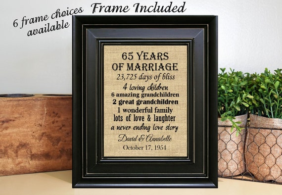 Framed 65th Wedding Anniversary65th Anniversary Gifts65th Etsy